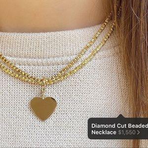 14k Shylee Rose Diamond Cut Bead Ball Necklace